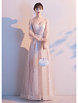 cheap -A-Line Elegant Sparkle Prom Formal Evening Dress V Neck Long Sleeve Floor Length Lace Satin with Sequin 2020