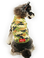 cheap -Dog Cat Coat Camouflage Classic Thick Velvet Casual / Daily Winter Dog Clothes Puppy Clothes Dog Outfits Breathable Red Green Costume for Girl and Boy Dog Cotton S M L XL