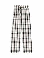 cheap -Women's Basic Streetwear Comfort Daily Going out Pants Chinos Pants Plaid Checkered Full Length Print Drawstring Black Blue Blushing Pink