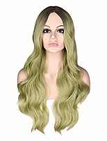 cheap -long wavy blonde wig natural two tone middle part heat resistant hair synthetic wigs for african american women,black green,26inches