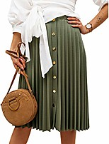 cheap -women's accordion pleated button down midi skirt for work casual bronze green