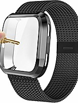 cheap -compatible with fitbit versa bands, versa 2 stainless steel metal band magnetic mesh replacement bracelet magnet wristband with protective case compatible with fitbit versa 2 1 watch, black