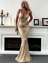 cheap -Mermaid / Trumpet Sexy Sparkle Prom Formal Evening Dress Spaghetti Strap Sleeveless Floor Length Spandex Sequined with Sequin 2020
