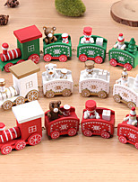 cheap -Christmas Wooden Small Train Wooden Painted Christmas Decoration Home With Santa Kids Toys New Year Gift