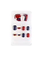cheap -24PCS Blue and Red New Geometric Series Fake Nails Finished Nail Art Patch Fake Nail Wearing Nail Art Nail Patch Color Nail Patch