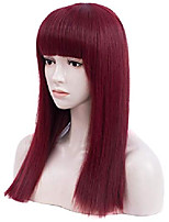 cheap -long straight wigs for women, wine red wig with bangs natural looking premium heat resistant synthetic wigs for girls lady cosplay party daily wear 20""