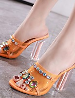cheap -Women's Sandals Chunky Heel Peep Toe Classic Daily PU Rhinestone Solid Colored Orange Champagne