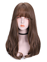 cheap -Synthetic Wig Curly With Bangs Wig Medium Length Light Brown Dark Brown Natural Black Synthetic Hair 16 inch Women's Comfy Fluffy Black Brown