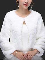 cheap -Long Sleeve Coats / Jackets Faux Fur Wedding Women's Wrap With Pattern