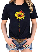 cheap -women sunflower graphic t-shirts short sleeve never give up funny saying letter printed o-neck casual tops tees blouse (m, black)