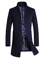 cheap -Men's Trench Coat Long N / A Dailywear Navy Black M L XL 2XL