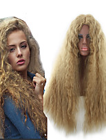 cheap -Ladies Wig Golden Corn Perm Beard Small Curls Wave Water Ripple Long Hair Cover Long Middle Part Fluffy Wig