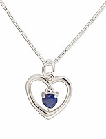 """cheap -sterling silver""""dancing heart"""" september simulated birthstone necklace"""