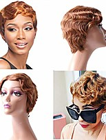 cheap -okix finger wave wig human hair pixie cut wig short curly virgin hair wigs mommy wigs short classic wig for black women (short finger wave, 30)