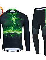 cheap -WECYCLE Men's Women's Long Sleeve Cycling Jersey with Bib Tights Cycling Jersey with Tights Winter Fleece Polyester Green Black / White Black / Green Lightning Bike Clothing Suit Fleece Lining / Warm
