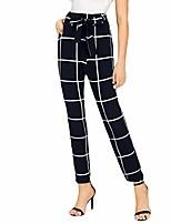 cheap -women's casual pants, high waist plaid pencil pants casual pants bandage harem pants stretchy skinny slim long pants navy