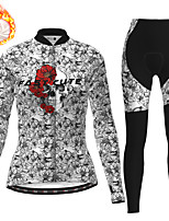 cheap -21Grams Women's Long Sleeve Cycling Jersey with Tights Winter Fleece Polyester Black Skull Floral Botanical Christmas Bike Clothing Suit Thermal Warm Fleece Lining Breathable Warm Quick Dry Sports