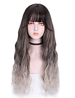 cheap -Synthetic Wig Curly With Bangs Wig Long Grey Purple Orange Synthetic Hair 26 inch Women's Cool Color Gradient Comfy Purple Gray