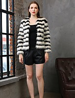 cheap -Long Sleeve Coats / Jackets Faux Fur Party / Evening / Office / Career Women's Wrap With Fur / Stripe