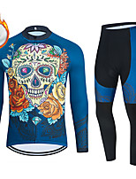 cheap -WECYCLE Men's Women's Long Sleeve Cycling Jersey with Bib Tights Cycling Jersey with Tights Winter Fleece Polyester Blue Black / White Black / Blue Skull Bike Clothing Suit Fleece Lining Breathable
