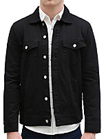 cheap -men's flap chest pockets button fastening denim jeans jackets black m us 40