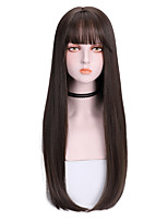 cheap -Synthetic Wig Straight With Bangs Wig Long Brown Synthetic Hair 26 inch Women's Soft Comfy Black