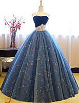 cheap -Ball Gown Luxurious Sexy Quinceanera Prom Dress Sweetheart Neckline Sleeveless Floor Length Lace Tulle with Overskirt 2020