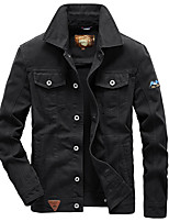 cheap -Men's Denim Jacket Regular Solid Colored Going out Black Light Blue L XL XXL 3XL