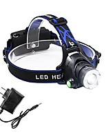 cheap -rechargeable headlamp flashlight with charger, zoomable 3 modes super bright led stretch focus t6 waterproof headlight(battery not include)for camping hiking fishing and outdoor sports (3 xml-t6)