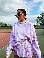 cheap -Women's Streetwear Tie Dye Athleisure School Two Piece Set Sweatshirt Skirt Pleated Butterfly Sleeve Tops