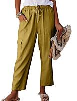 cheap -Women's Daily Pants Pants Solid Colored Full Length Black Yellow Khaki