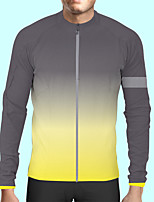 cheap -CAWANFLY Men's Long Sleeve Cycling Jersey Polyester Dark Grey Bike Jersey Top Mountain Bike MTB Road Bike Cycling Quick Dry Sports Clothing Apparel / Stretchy / SBS Zipper / Italian Ink