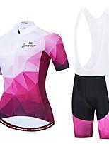 cheap -Women's Short Sleeve Cycling Jersey with Bib Shorts White Black / White Bike Moisture Wicking Sports Geometic Clothing Apparel / Micro-elastic / Athleisure