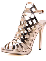cheap -Women's Sandals Stiletto Heel Peep Toe Roman Shoes Daily PU Solid Colored Gold