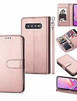cheap -samsung galaxy s10 wallet case,magnetic premium leather folio flip case with 9 card slots/holder kickstand and wrist strap for samsung s10-rose gold