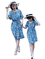 cheap -summer mommy and me dresses chiffon floral mother daughter beach dresses long maxi (girl c, size 150cm)