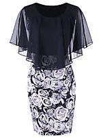cheap -Women's Sheath Dress Knee Length Dress - Short Sleeve Print Lace Patchwork Print Summer Plus Size Elegant Sexy Butterfly Sleeve 2020 Black XL XXL 3XL 4XL 5XL
