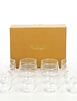 """cheap -set of 12 clear glass tea light holders - 2.5"""" diameter. roly poly style. ideal gift for weddings, parties, reiki, spa, events w1"""