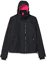 cheap -women's uk sizing arctic hooded pop zip up fleece lined multi pocket sd-windcheater jacket, black/raspberry, 16