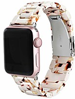 cheap -band compatible with apple watch 42mm 44mm, women girl handmade resin strap bracelet replacement for series se 6 5 4 3 2 1, pink+yellow