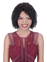 cheap -Human Hair Wig Medium Length Kinky Curly Asymmetrical Side Part Natural Women Sexy Lady New Capless Burmese Hair Women's Natural Black #1B 12 inch 14 inch 16 inch