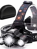 cheap -headlamp flashlight usb rechargeable -led ultra-bright high 6000 lumen work headlight,ipx4 waterproof & 18650 flashlight with zoomable work light,head lights for camping (blue)