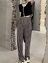 cheap -Women's Basic Streetwear Comfort Daily Going out Pants Chinos Pants Leopard Full Length Print Black