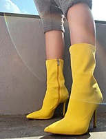 cheap -Women's Boots Stiletto Heel Pointed Toe Booties Ankle Boots Classic Daily Elastic Fabric Solid Colored Yellow Blue / Booties / Ankle Boots