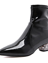 cheap -Women's Boots Chunky Heel Pointed Toe Booties Ankle Boots Daily Walking Shoes PU Rhinestone Pearl Solid Colored Black / Mid-Calf Boots