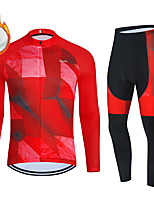 cheap -WECYCLE Men's Women's Long Sleeve Cycling Jersey with Bib Tights Cycling Jersey with Tights Winter Fleece Polyester Black / Red Red Black / White Geometic Bike Clothing Suit Fleece Lining Breathable