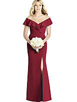 cheap -Mermaid / Trumpet Elegant Vintage Party Wear Formal Evening Dress Off Shoulder Short Sleeve Floor Length Spandex with Ruffles 2020