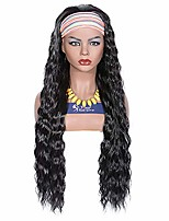 cheap -30inch headband wig natural black for women non lace front wig long wavy glueless futura fiber synthetic wig black women–2# color