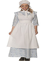 cheap -women's pioneer costume with apron and bonnet, blue, medium