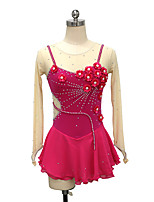 cheap -21Grams Figure Skating Dress Women's Girls' Ice Skating Dress Fuchsia Spandex High Elasticity Training Competition Skating Wear Crystal / Rhinestone Long Sleeve Ice Skating Figure Skating / Kids